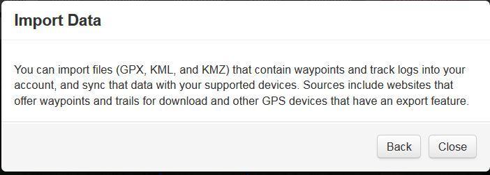 Cannot import GPX,KML files - inReach General - inReach