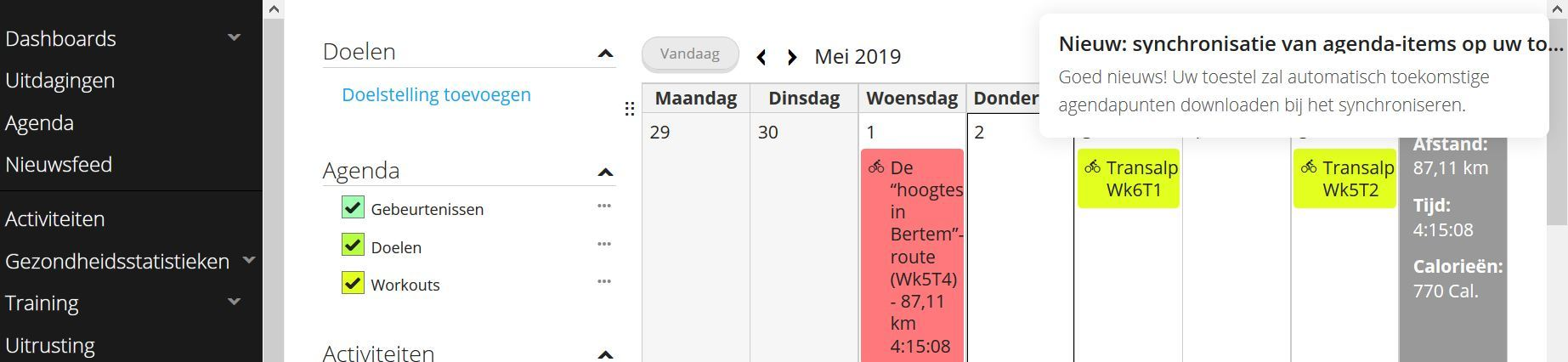 Message blocking view to agenda functions - Garmin Connect Web